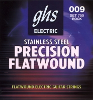 GHS 750 Stainless Steel Precision Flats 9-42 струны для электрогитары, плоская стальная навивка