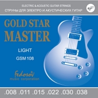 GSM108 Gold Star Master Light Комплект струн для электрогитары, нерж. сплав, 8-38, Fedosov